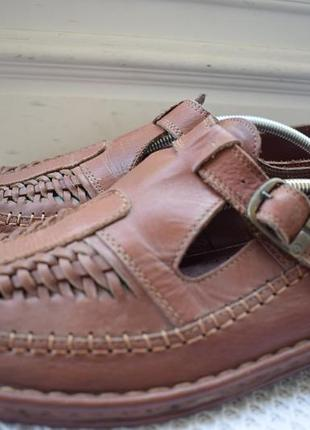 Кожаные туфли мокасины сандалии crown германия р.46 30 см на р. 45