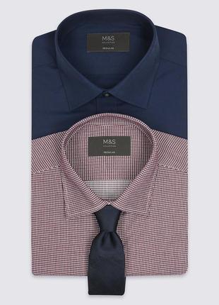 Набор из 2 рубашек на длинный рукав и галстука - цвет бордо + темно-синий m&s оригинал