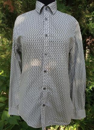 Рубашка германия 100% хлопок в квадратик ромбик чёрно-белая straight up бренд