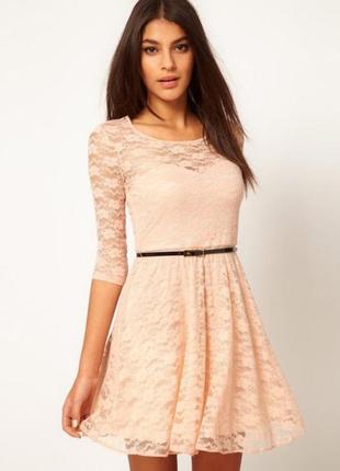 Платье кружевное ньюд летнее персиковое asos