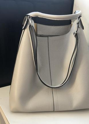 Большая итальянская сумка кожаная серая