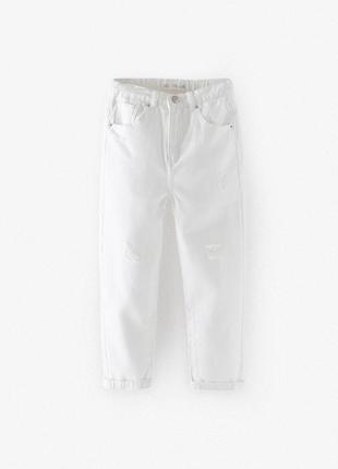 Білі джинси zara mom 10 років (140 см)