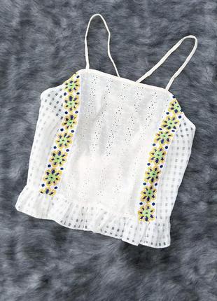 Блуза кофточка на бретелях из прошвы