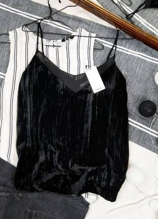 Новая велюровая топ блуза кофточка на бретелях mango3 фото