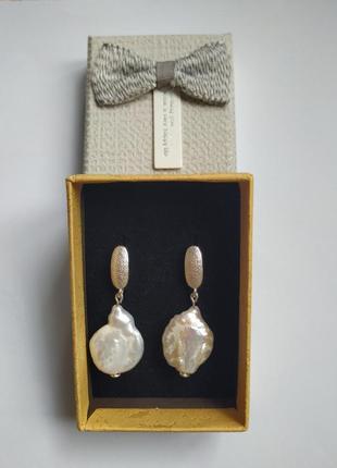 """Серебрянные серьги с барочным жемчугом """"лилия"""""""