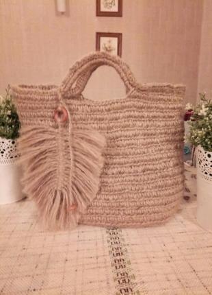 Сумка плетеная из джута бохо стиль.