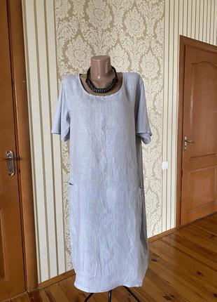 Итальянское льняное платье бохо с карманами