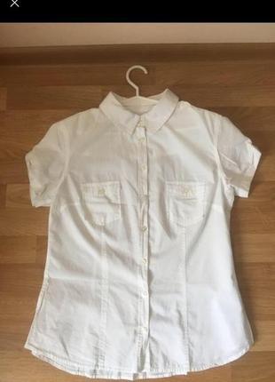 Біла сорочка на короткий рукав h&m