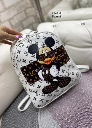 Новый белый рюкзак с микки