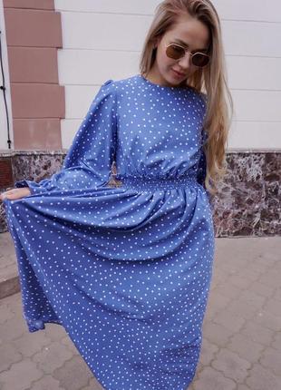 Платье в горох с рукавами