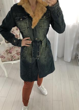 Джинсовое пальто  утеплённое miss posh