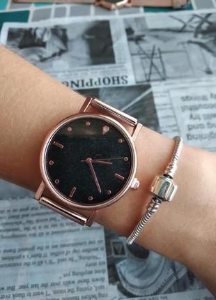 Часы наручные женские золотистые на силиконовом ремешке годинник