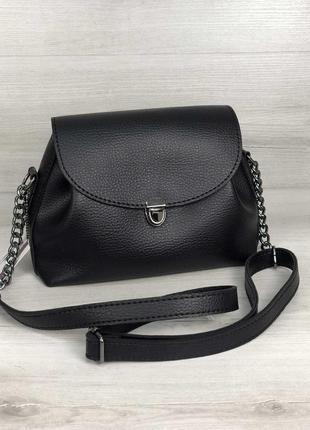 Базовая черная кросс боди сумка клатч на цепочке через плечо на каждый день