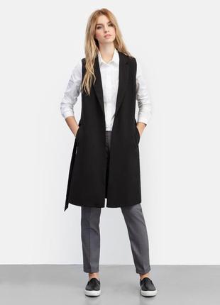 Черная удлиненная жилетка пиджак жакет кардиган без рукавов