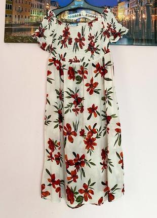 Натуральное платье в цветы