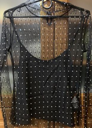 Блузка кружевная с камнями сваровски, вечерняя блузка