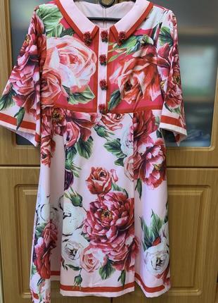 Платье dolce&gabbana яркое с цветочным принтом