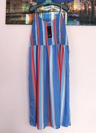 Натуральное платье в полоску