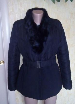 Пуховик с натуральным мехом и поясом//пальто/куртка/плащ/пуховик