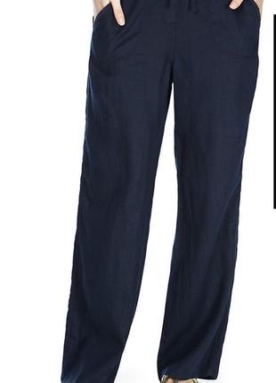 Льняные брюки штаны летние 🍊 лён вискоза на завязке m&s