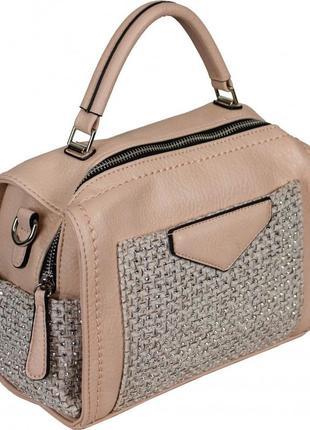 Сумка чемоданчик женская в мелкие стразы на ткани. розовая сумочка через плечо . 61-988