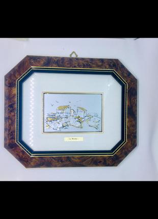 Италия картина из серебра расписана вручную новая