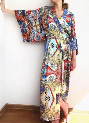 Халат кимоно атлас длинный 42-50