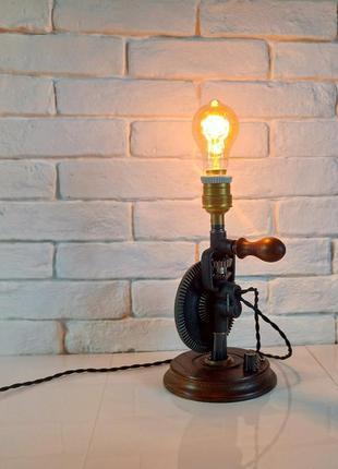 Настольная лампа-ночник с лампой эдисона, лофт, стимпанк, drill