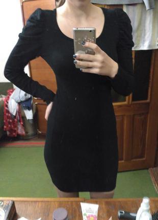 Платье теплое, платье миди, черное платье