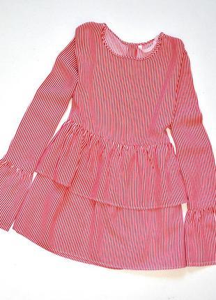 Zara. трендовая блуза с воланами на рукавах и под грудью в мелкую полоску. хс