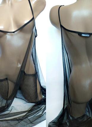 Прозрачная черная сеточка в виде сарафана от boohoo size uk 14