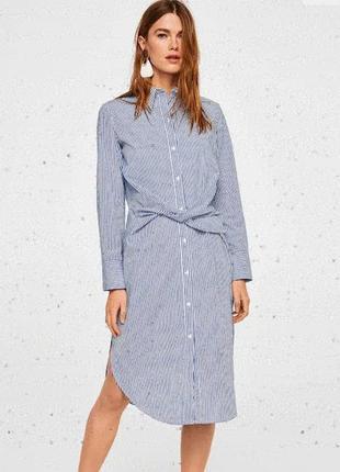 Хлопкое платье рубашка mango