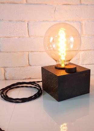 Настольная лампа-ночник куб-сфера с лампой эдисона лофт