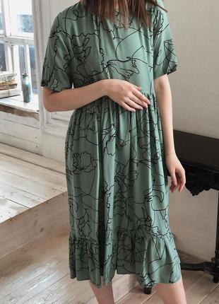Платье с узорами из штапеля (бордовое и фисташковое)