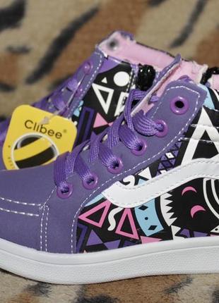 Детские демисезонные ботинки высокие кроссовки хайтопы clibee
