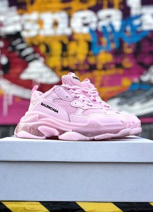 Оригинальные розовые кроссовки balenciaga балянсягаtriple s