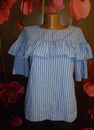Красивая блуза в полоску с рюшами