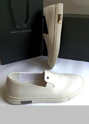 Белые слипоны мокасины от armani exchence 41-й р. оригинал ! распродажа !