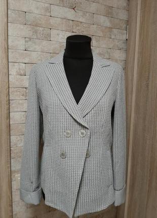 Фактурный двубортный пиджак блайзер