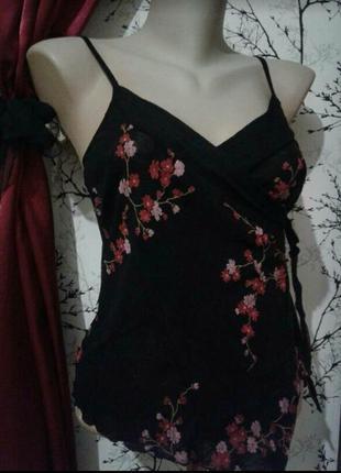 Блузка майка с запахом в восточном стиле цветочный принт