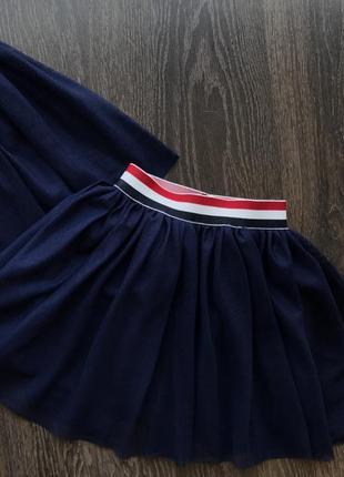 Модная синяя школьная юбочка
