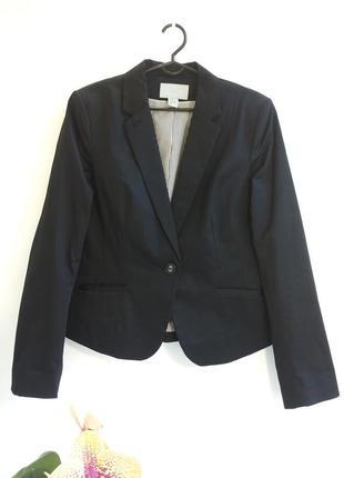 Черный жакет пиджак от h&m. размер л-ка / usa 40 / ukr 46.  идеальнейшее состояние!