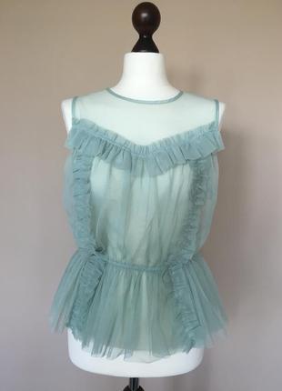 Кружевной топ с рюшами фатин блуза, блузка с рюшами, блузка сеточка шелковая блуза от h&m