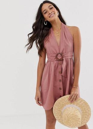 Шикарный льняной сарафан платье с пуговицами пудрового цвета от asos сукня
