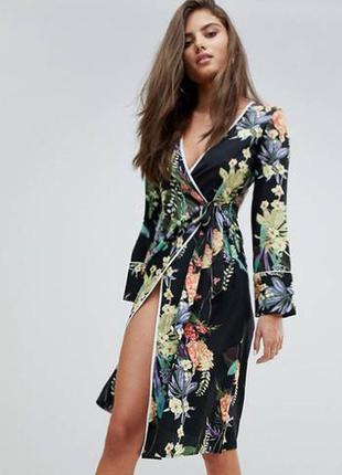 Распродажа платье кимоно boohoo миди с цветочным принтом с asos