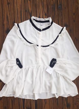 Блуза из натуральной ткани с рюшами оверсайз кроя