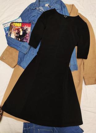 Платье чёрное миди резинка классическое ms mode