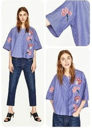 Рубашка блуза с вышивкой свободного стиля размер 10-12 zara