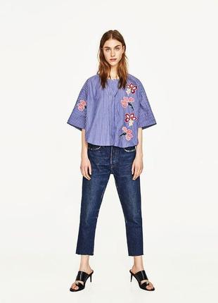 Рубашка блуза с вышивкой свободного стиля размер 10-12 zara2 фото