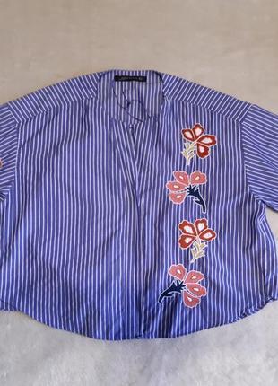 Рубашка блуза с вышивкой свободного стиля размер 10-12 zara3 фото